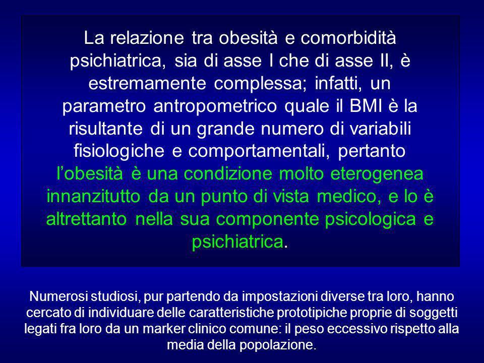 La relazione tra obesità e comorbidità psichiatrica, sia di asse I che di asse II, è estremamente complessa; infatti, un parametro antropometrico quale il BMI è la risultante di un grande numero di variabili fisiologiche e comportamentali, pertanto lobesità è una condizione molto eterogenea innanzitutto da un punto di vista medico, e lo è altrettanto nella sua componente psicologica e psichiatrica.