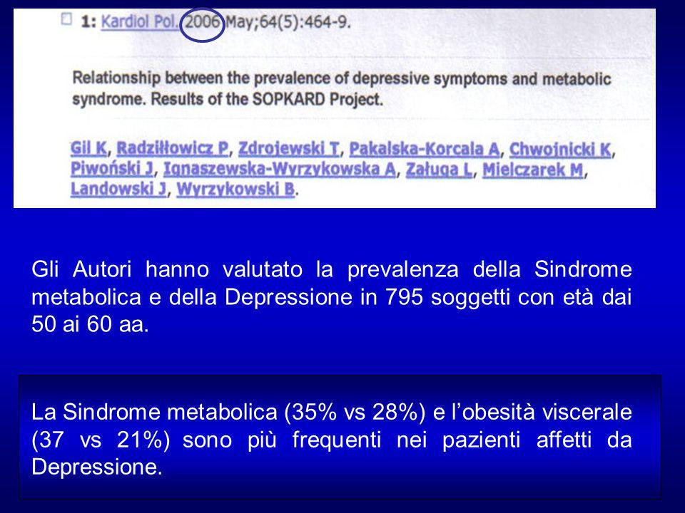Gli Autori hanno valutato la prevalenza della Sindrome metabolica e della Depressione in 795 soggetti con età dai 50 ai 60 aa.