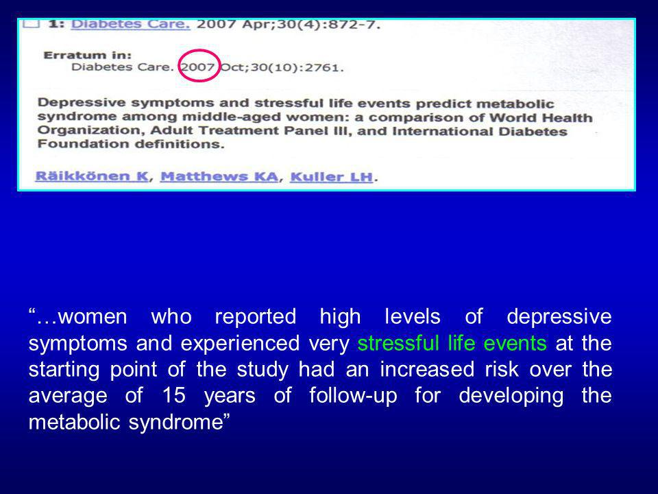 …women who reported high levels of depressive symptoms and experienced very stressful life events at the starting point of the study had an increased
