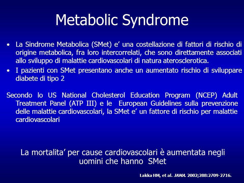 Metabolic Syndrome La Sindrome Metabolica (SMet) e una costellazione di fattori di rischio di origine metabolica, fra loro intercorrelati, che sono direttamente associati allo sviluppo di malattie cardiovascolari di natura aterosclerotica.