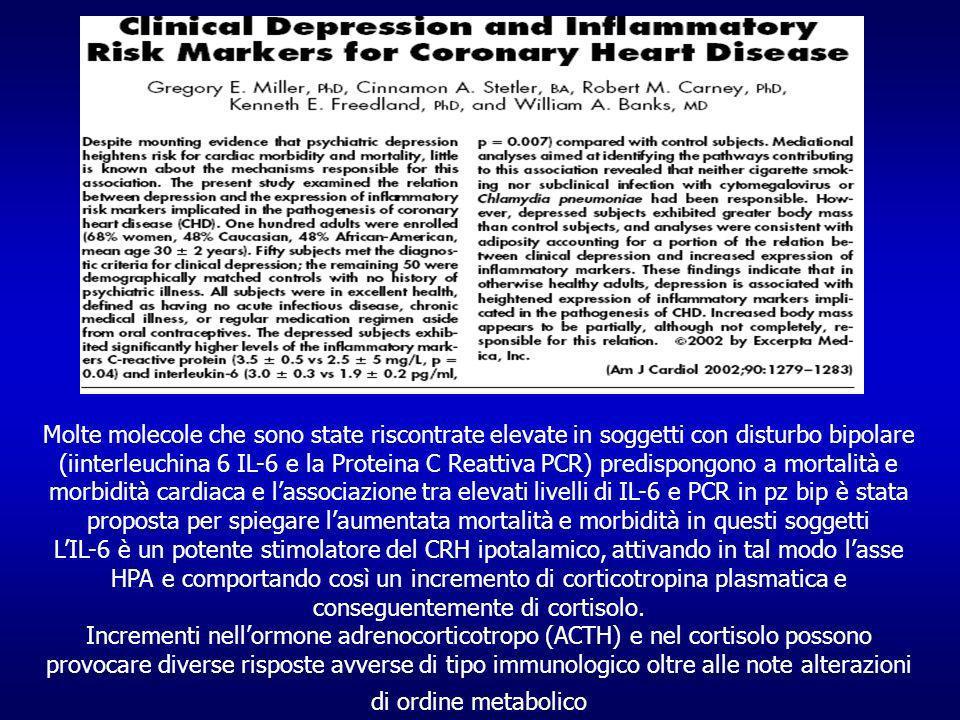 Molte molecole che sono state riscontrate elevate in soggetti con disturbo bipolare (iinterleuchina 6 IL-6 e la Proteina C Reattiva PCR) predispongono a mortalità e morbidità cardiaca e lassociazione tra elevati livelli di IL-6 e PCR in pz bip è stata proposta per spiegare laumentata mortalità e morbidità in questi soggetti LIL-6 è un potente stimolatore del CRH ipotalamico, attivando in tal modo lasse HPA e comportando così un incremento di corticotropina plasmatica e conseguentemente di cortisolo.