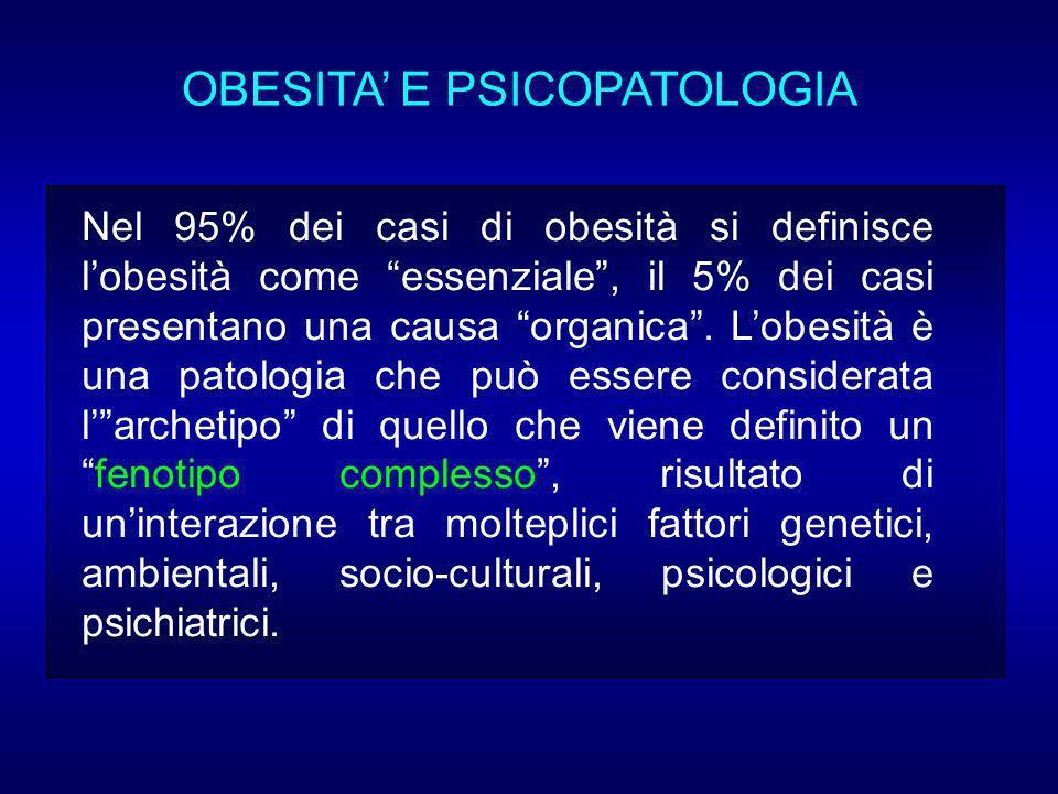 Nel 95% dei casi di obesità si definisce lobesità come essenziale, il 5% dei casi presentano una causa organica.