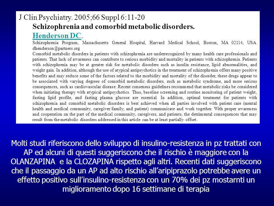 Molti studi riferiscono dello sviluppo di insulino-resistenza in pz trattati con AP ed alcuni di questi suggeriscono che il rischio è maggiore con la OLANZAPINA e la CLOZAPINA rispetto agli altri.