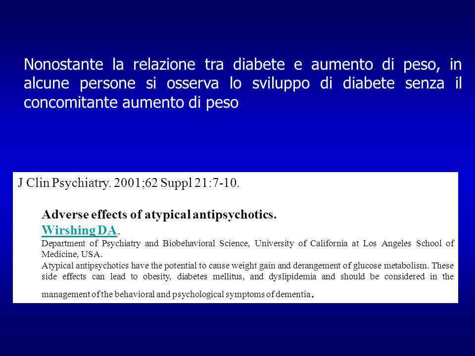 Nonostante la relazione tra diabete e aumento di peso, in alcune persone si osserva lo sviluppo di diabete senza il concomitante aumento di peso J Clin Psychiatry.