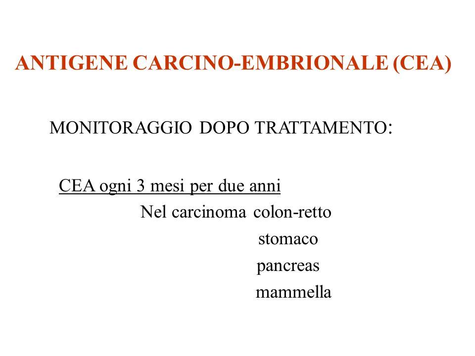 ANTIGENE CARCINO-EMBRIONALE (CEA) MONITORAGGIO DOPO TRATTAMENTO : CEA ogni 3 mesi per due anni Nel carcinoma colon-retto stomaco pancreas mammella