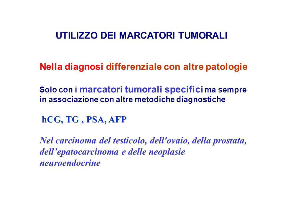 UTILIZZO DEI MARCATORI TUMORALI Nella diagnosi differenziale con altre patologie Solo con i marcatori tumorali specifici ma sempre in associazione con