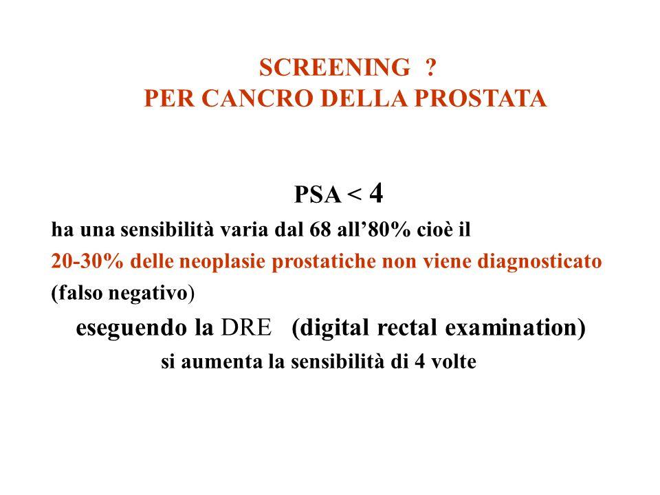 SCREENING ? PER CANCRO DELLA PROSTATA PSA < 4 ha una sensibilità varia dal 68 all80% cioè il 20-30% delle neoplasie prostatiche non viene diagnosticat