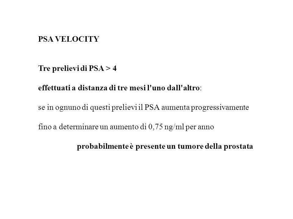 PSA VELOCITY Tre prelievi di PSA > 4 effettuati a distanza di tre mesi l'uno dall'altro: se in ognuno di questi prelievi il PSA aumenta progressivamen