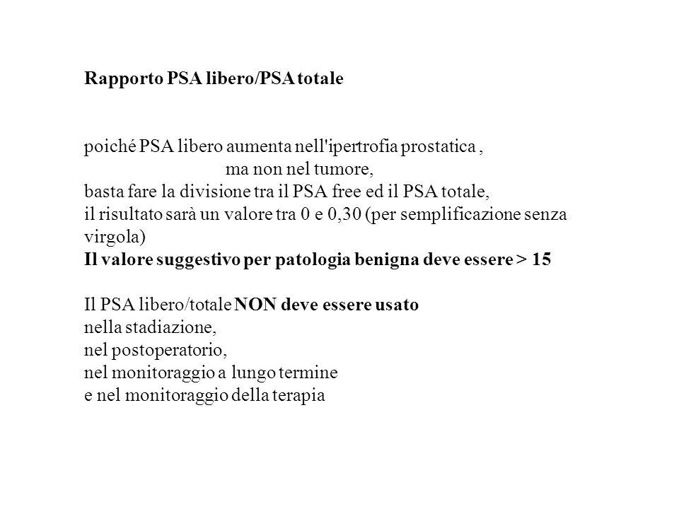 Rapporto PSA libero/PSA totale poiché PSA libero aumenta nell'ipertrofia prostatica, ma non nel tumore, basta fare la divisione tra il PSA free ed il