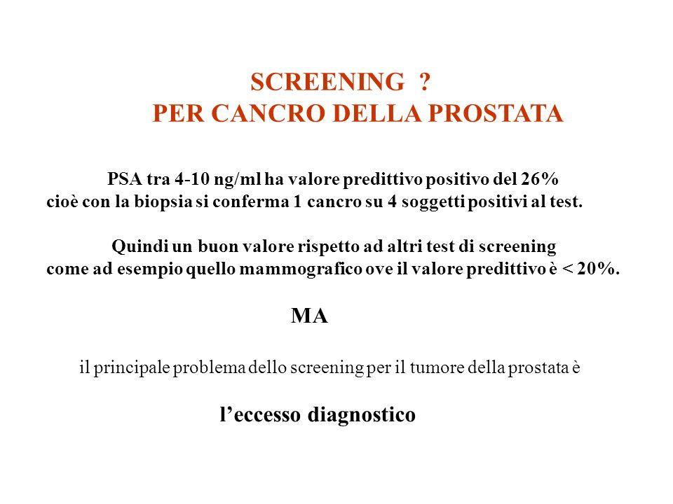 PSA tra 4-10 ng/ml ha valore predittivo positivo del 26% cioè con la biopsia si conferma 1 cancro su 4 soggetti positivi al test. Quindi un buon valor