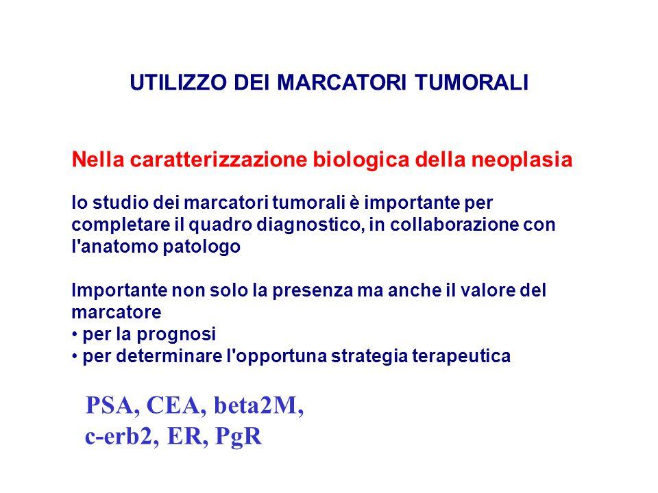 UTILIZZO DEI MARCATORI TUMORALI Nella caratterizzazione biologica della neoplasia lo studio dei marcatori tumorali è importante per completare il quad