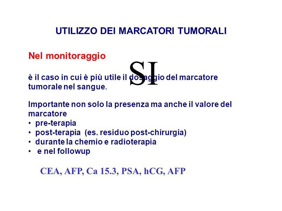 UTILIZZO DEI MARCATORI TUMORALI Nel monitoraggio è il caso in cui è più utile il dosaggio del marcatore tumorale nel sangue. Importante non solo la pr