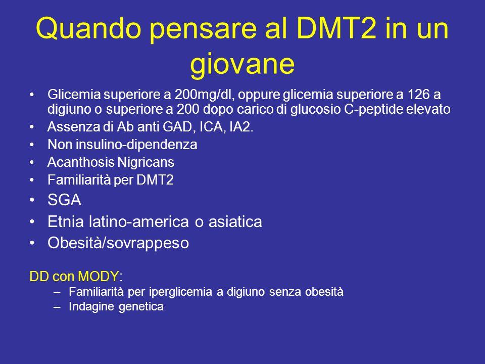 Quando pensare al DMT2 in un giovane Glicemia superiore a 200mg/dl, oppure glicemia superiore a 126 a digiuno o superiore a 200 dopo carico di glucosio C-peptide elevato Assenza di Ab anti GAD, ICA, IA2.