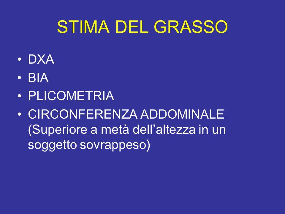 STIMA DEL GRASSO DXA BIA PLICOMETRIA CIRCONFERENZA ADDOMINALE (Superiore a metà dellaltezza in un soggetto sovrappeso)