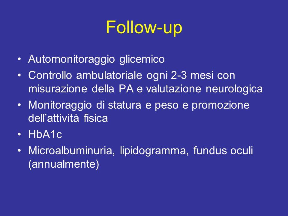 Follow-up Automonitoraggio glicemico Controllo ambulatoriale ogni 2-3 mesi con misurazione della PA e valutazione neurologica Monitoraggio di statura e peso e promozione dellattività fisica HbA1c Microalbuminuria, lipidogramma, fundus oculi (annualmente)