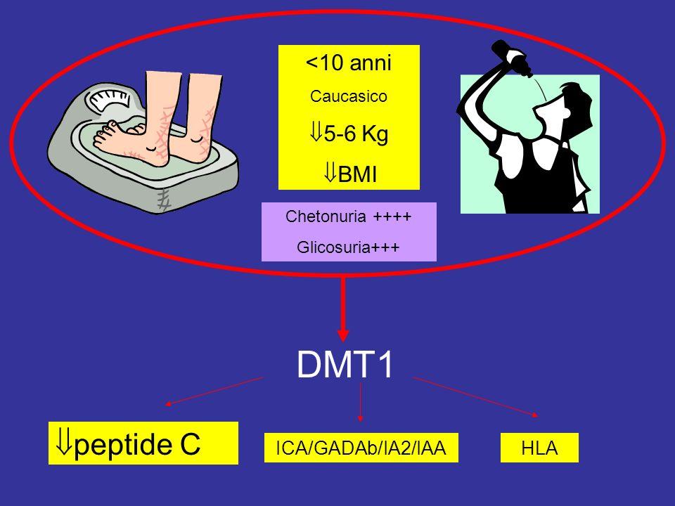 <10 anni Caucasico 5-6 Kg BMI Chetonuria ++++ Glicosuria+++ DMT1 ICA/GADAb/IA2/IAA peptide C HLA