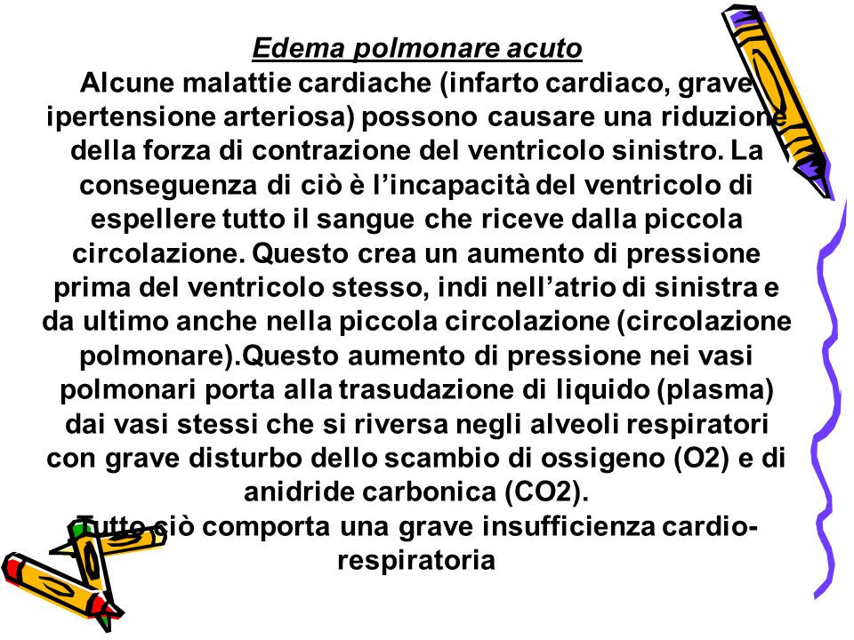 Edema polmonare acuto Alcune malattie cardiache (infarto cardiaco, grave ipertensione arteriosa) possono causare una riduzione della forza di contrazi