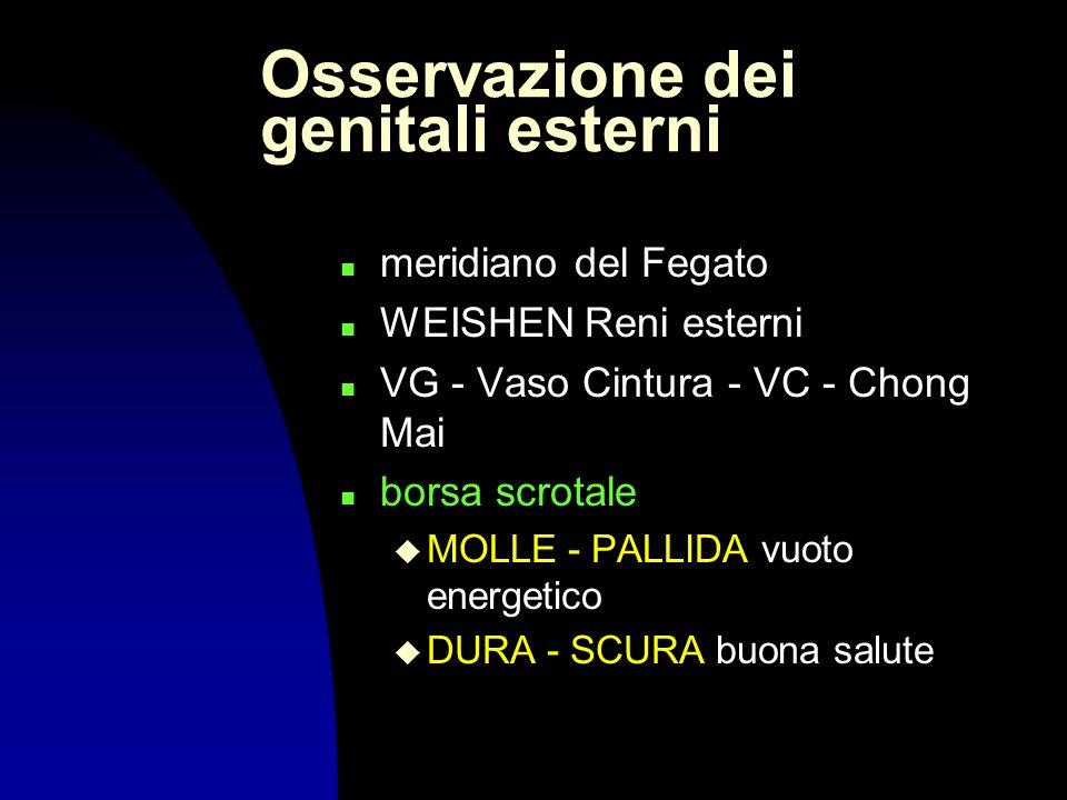 Osservazione dei genitali esterni n meridiano del Fegato n WEISHEN Reni esterni n VG - Vaso Cintura - VC - Chong Mai borsa scrotale u MOLLE - PALLIDA