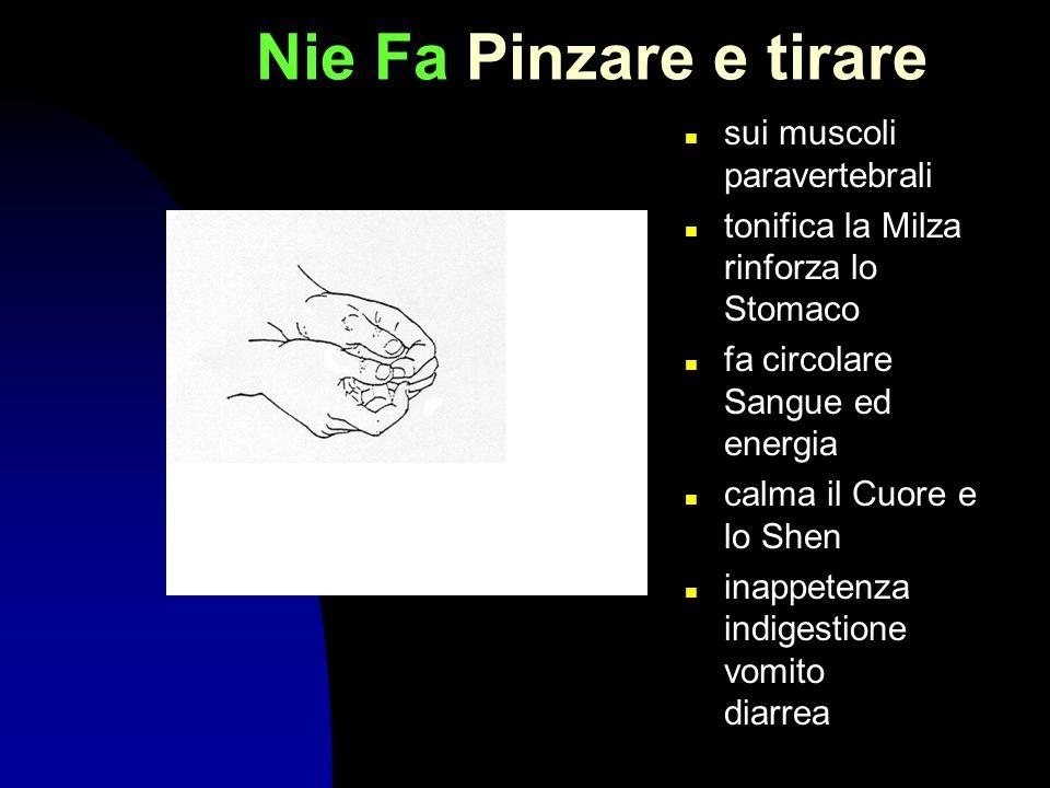 Nie Fa Pinzare e tirare sui muscoli paravertebrali tonifica la Milza rinforza lo Stomaco fa circolare Sangue ed energia calma il Cuore e lo Shen inapp