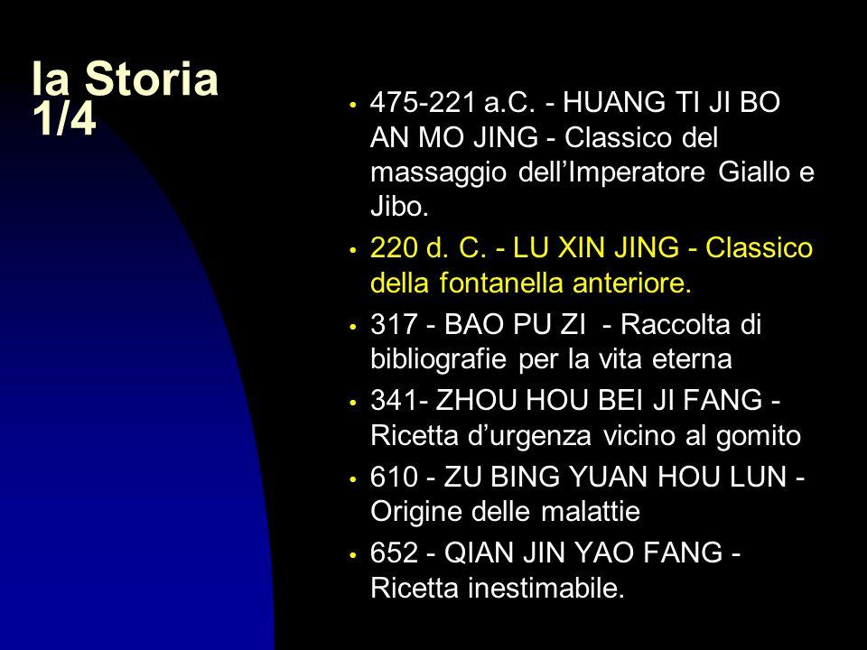 la Storia 1/4 475-221 a.C. - HUANG TI JI BO AN MO JING - Classico del massaggio dellImperatore Giallo e Jibo. 220 d. C. - LU XIN JING - Classico della