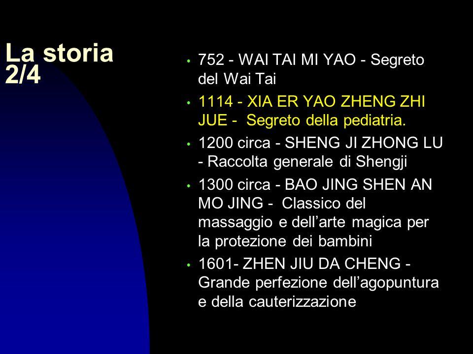 La storia 2/4 752 - WAI TAI MI YAO - Segreto del Wai Tai 1114 - XIA ER YAO ZHENG ZHI JUE - Segreto della pediatria. 1200 circa - SHENG JI ZHONG LU - R