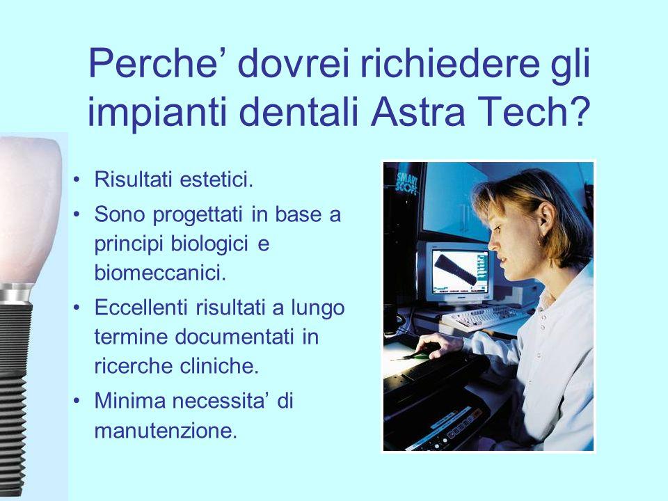 Perche dovrei richiedere gli impianti dentali Astra Tech? Risultati estetici. Sono progettati in base a principi biologici e biomeccanici. Eccellenti