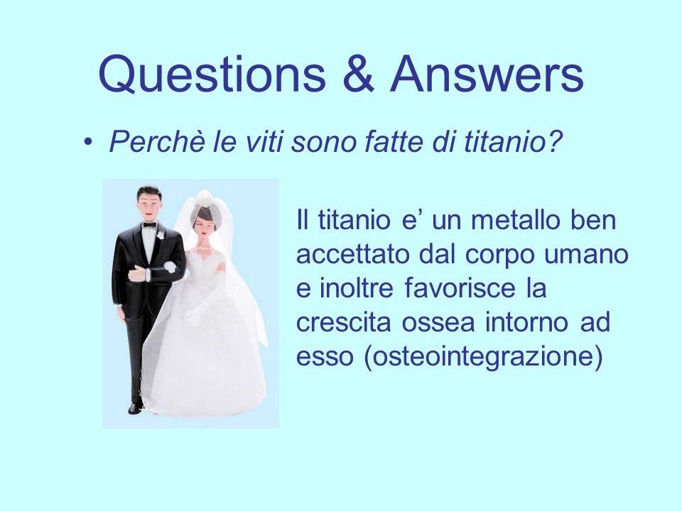 Questions & Answers Perchè le viti sono fatte di titanio? Il titanio e un metallo ben accettato dal corpo umano e inoltre favorisce la crescita ossea