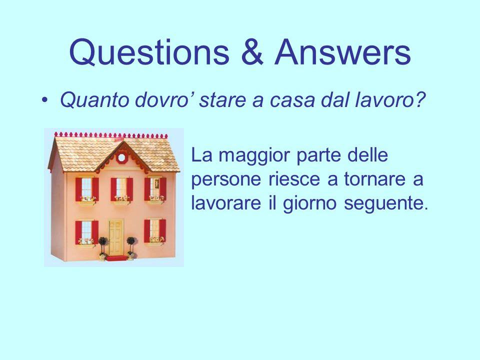 Questions & Answers Quanto dovro stare a casa dal lavoro? La maggior parte delle persone riesce a tornare a lavorare il giorno seguente.