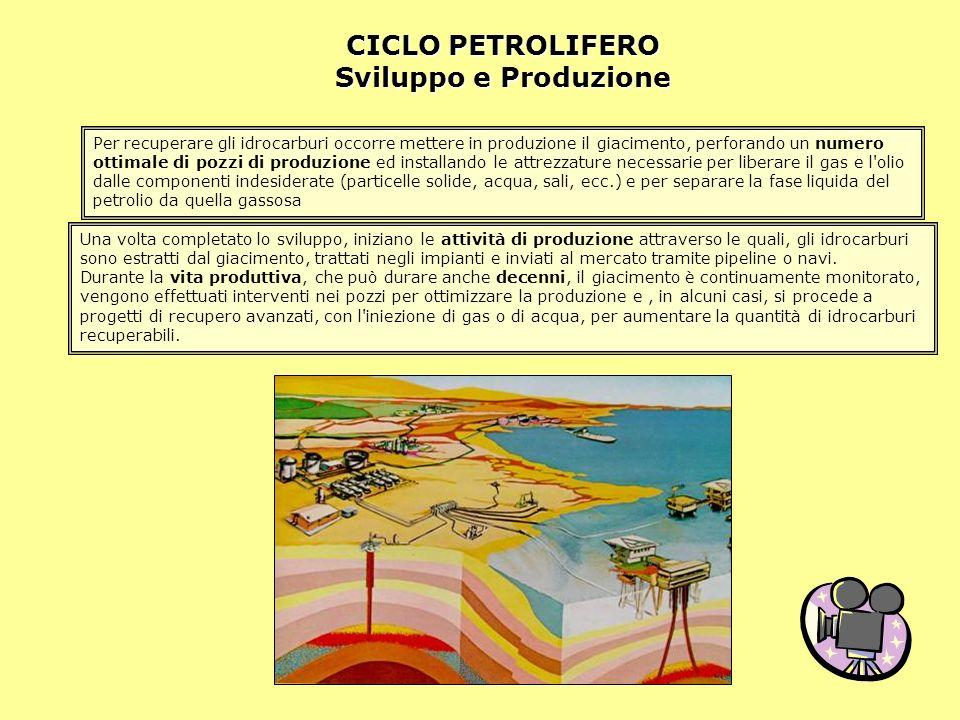 CICLO PETROLIFERO Sviluppo e Produzione Per recuperare gli idrocarburi occorre mettere in produzione il giacimento, perforando un numero ottimale di p