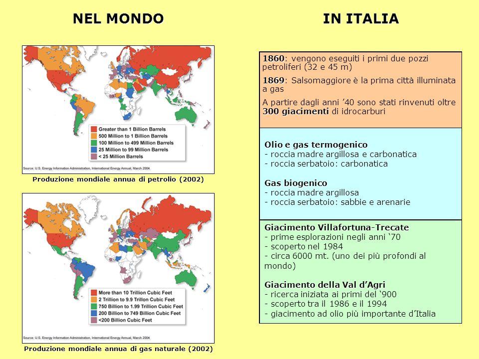 NEL MONDO Produzione mondiale annua di petrolio (2002) Produzione mondiale annua di gas naturale (2002) IN ITALIA 1860 1860: vengono eseguiti i primi