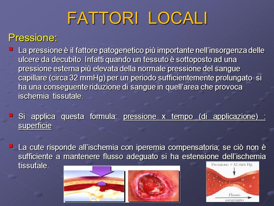 FATTORI LOCALI Pressione: La pressione è il fattore patogenetico più importante nellinsorgenza delle ulcere da decubito. Infatti quando un tessuto è s