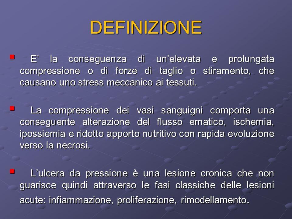 DEFINIZIONE E la conseguenza di unelevata e prolungata compressione o di forze di taglio o stiramento, che causano uno stress meccanico ai tessuti. E