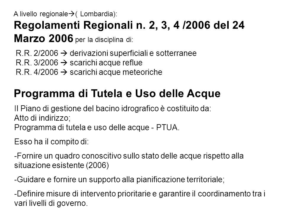 A livello regionale ( Lombardia): Regolamenti Regionali n. 2, 3, 4 /2006 del 24 Marzo 2006 per la disciplina di: R.R. 2/2006 derivazioni superficiali