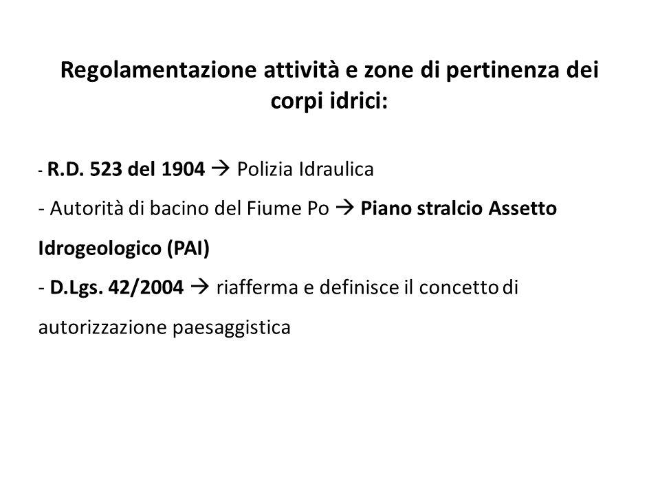 Regolamentazione attività e zone di pertinenza dei corpi idrici: - R.D. 523 del 1904 Polizia Idraulica - Autorità di bacino del Fiume Po Piano stralci