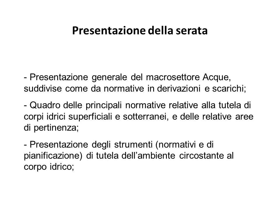 Presentazione della serata - Presentazione generale del macrosettore Acque, suddivise come da normative in derivazioni e scarichi; - Quadro delle prin