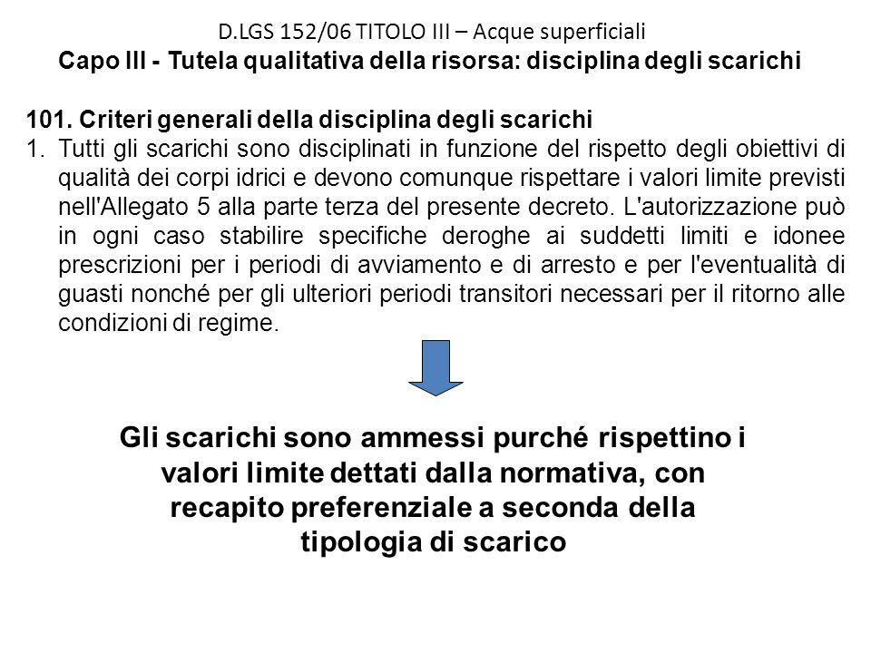 D.LGS 152/06 TITOLO III – Acque superficiali Capo III - Tutela qualitativa della risorsa: disciplina degli scarichi 101. Criteri generali della discip