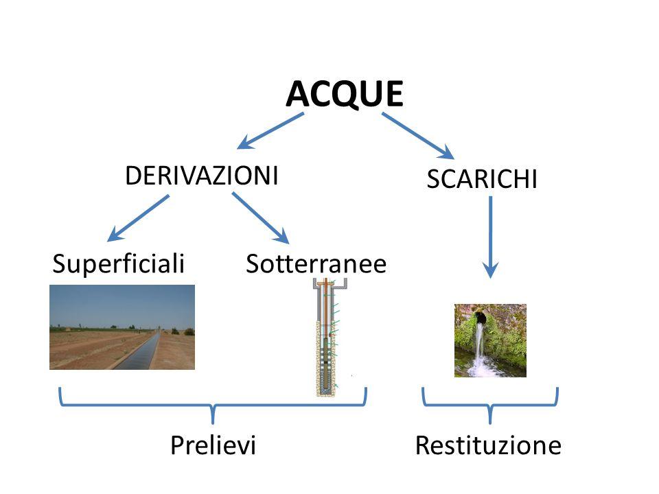 Derivazioni Superficiali e sotterranee: alcuni esempi Uso Irriguo Uso Idroelettrico Uso Irriguo Uso Industriale & altri usi Uso Potabile