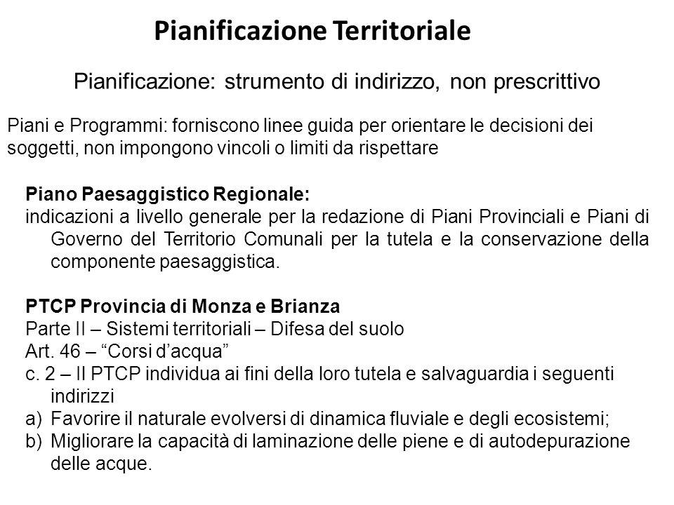 Pianificazione Territoriale Pianificazione: strumento di indirizzo, non prescrittivo Piani e Programmi: forniscono linee guida per orientare le decisi