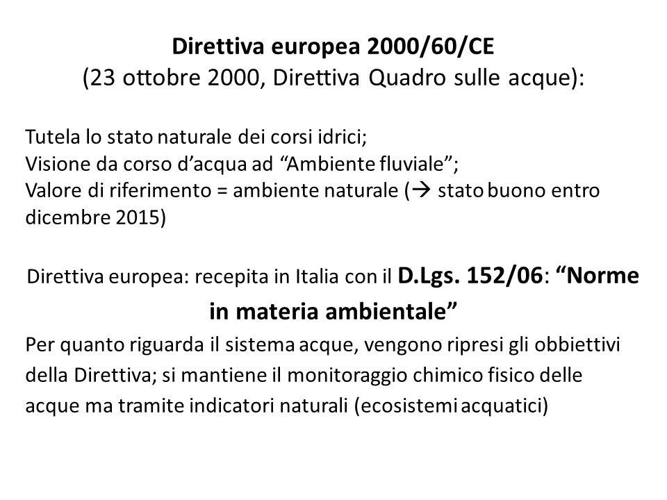 Direttiva europea 2000/60/CE (23 ottobre 2000, Direttiva Quadro sulle acque): Tutela lo stato naturale dei corsi idrici; Visione da corso dacqua ad Am