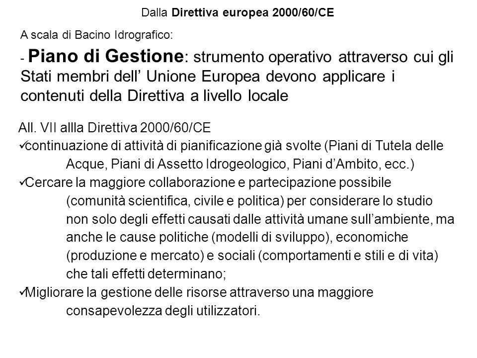 A scala di Bacino Idrografico: - Piano di Gestione : strumento operativo attraverso cui gli Stati membri dell Unione Europea devono applicare i conten