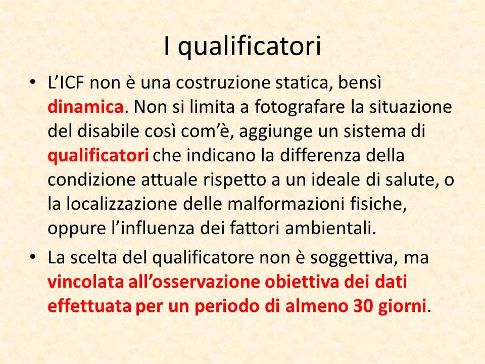 I qualificatori LICF non è una costruzione statica, bensì dinamica. Non si limita a fotografare la situazione del disabile così comè, aggiunge un sist