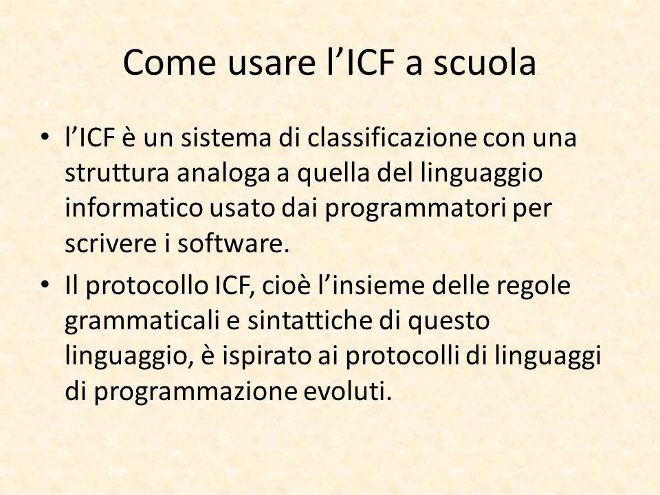 Come usare lICF a scuola lICF è un sistema di classificazione con una struttura analoga a quella del linguaggio informatico usato dai programmatori pe