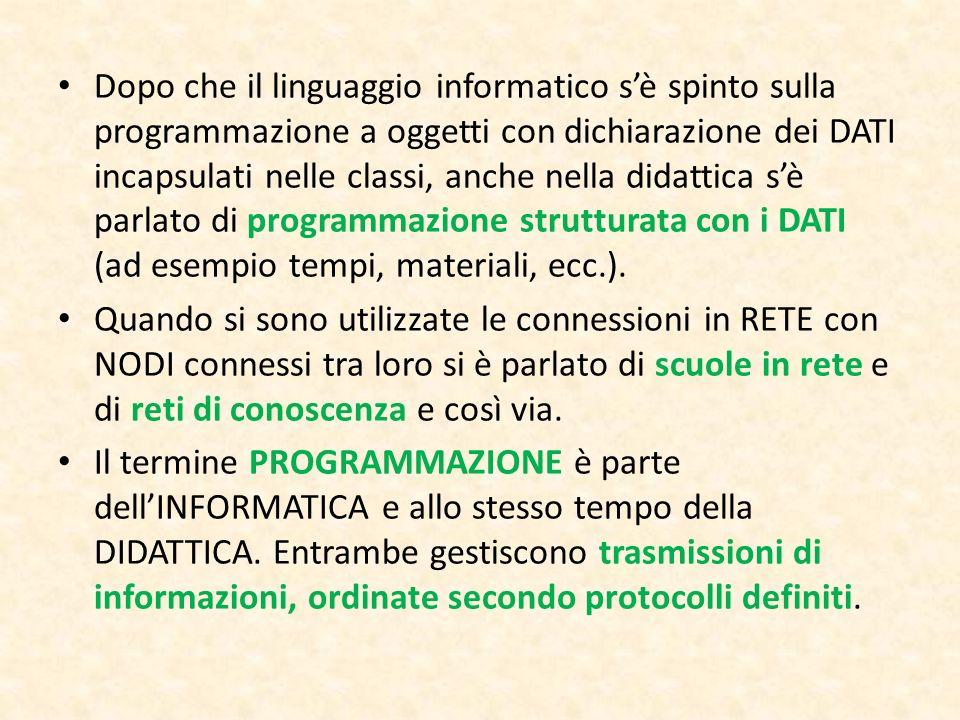 Dopo che il linguaggio informatico sè spinto sulla programmazione a oggetti con dichiarazione dei DATI incapsulati nelle classi, anche nella didattica