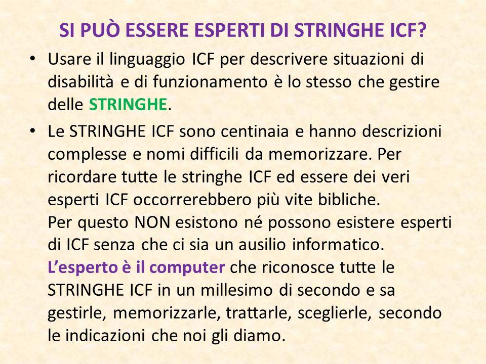 Usare il linguaggio ICF per descrivere situazioni di disabilità e di funzionamento è lo stesso che gestire delle STRINGHE. Le STRINGHE ICF sono centin