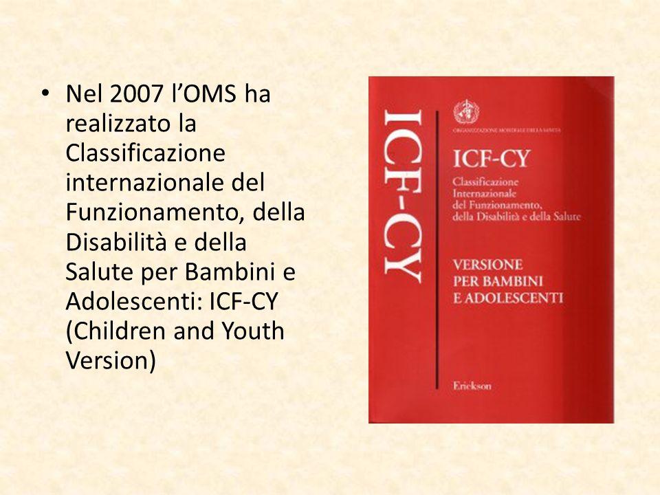 Nel 2007 lOMS ha realizzato la Classificazione internazionale del Funzionamento, della Disabilità e della Salute per Bambini e Adolescenti: ICF-CY (Ch