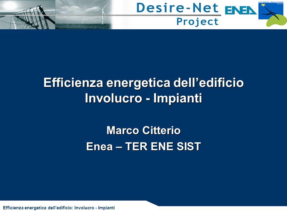 Efficienza energetica delledificio Involucro - Impianti Marco Citterio Enea – TER ENE SIST Efficienza energetica delledificio: Involucro - Impianti