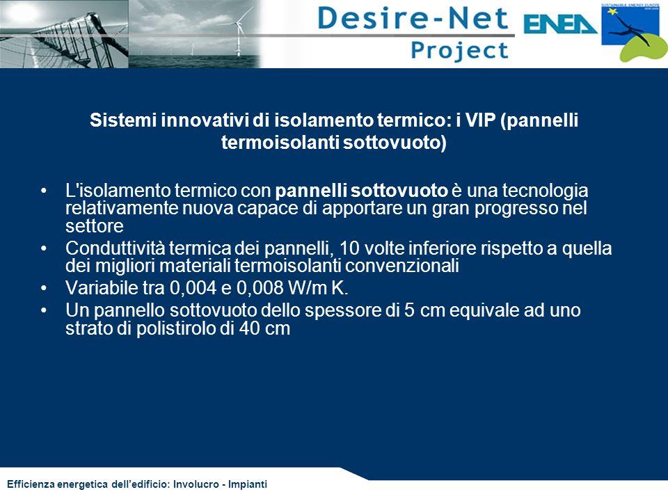 Efficienza energetica delledificio: Involucro - Impianti Sistemi innovativi di isolamento termico: i VIP (pannelli termoisolanti sottovuoto) L'isolame