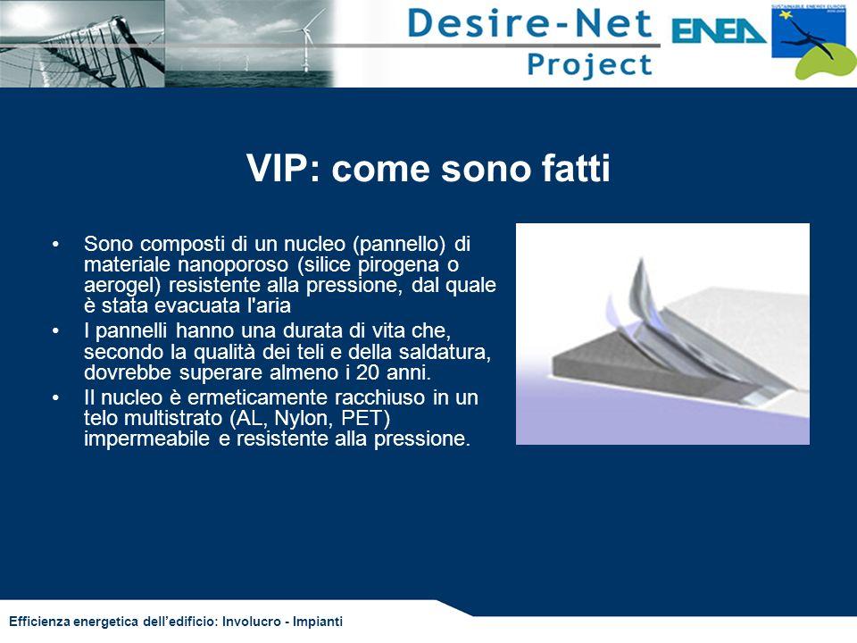 Efficienza energetica delledificio: Involucro - Impianti VIP: come sono fatti Sono composti di un nucleo (pannello) di materiale nanoporoso (silice pi