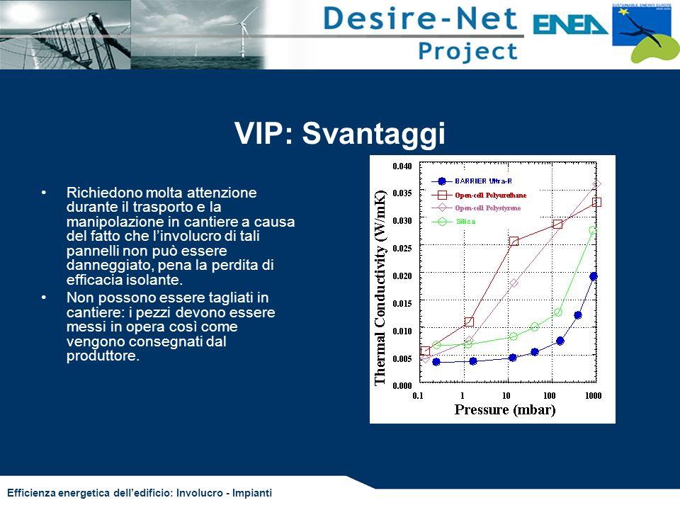 Efficienza energetica delledificio: Involucro - Impianti VIP: Svantaggi Richiedono molta attenzione durante il trasporto e la manipolazione in cantier