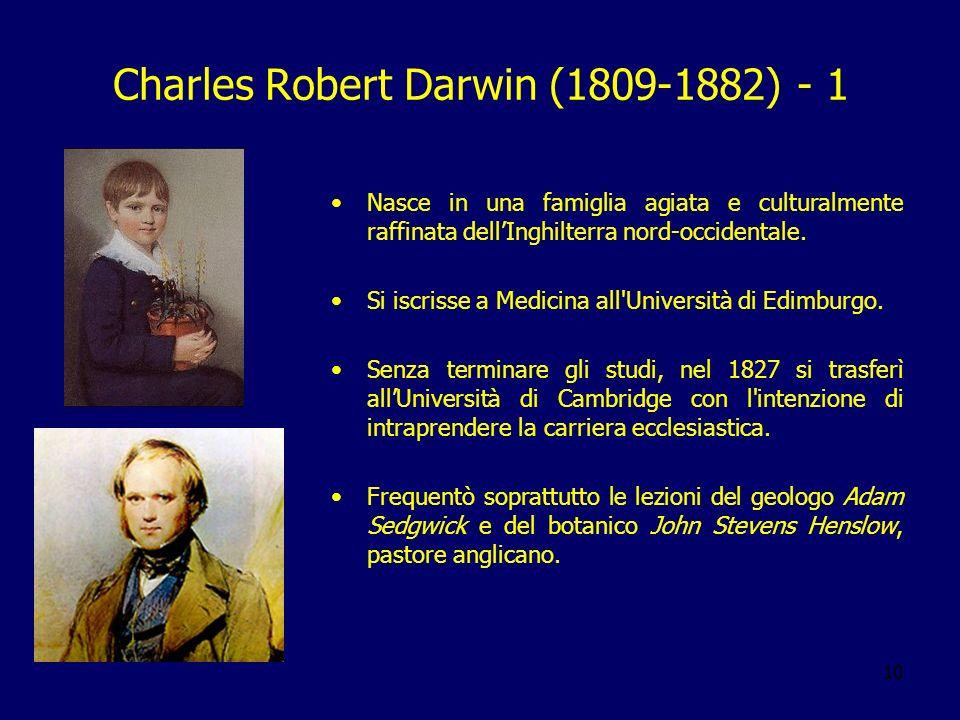 10 Charles Robert Darwin (1809-1882) - 1 Nasce in una famiglia agiata e culturalmente raffinata dellInghilterra nord-occidentale. Si iscrisse a Medici